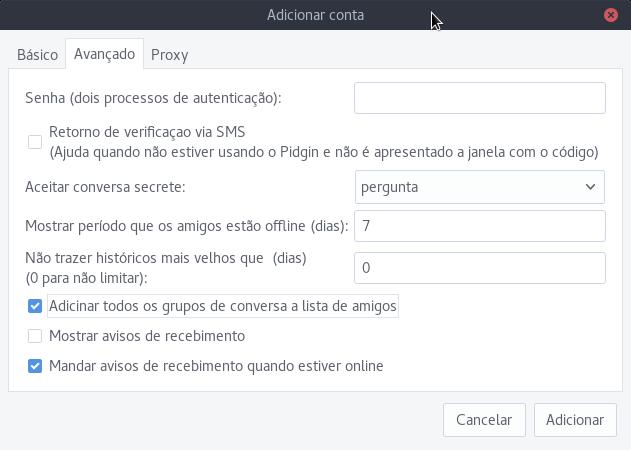 Configura as opções do telegram no pidgin